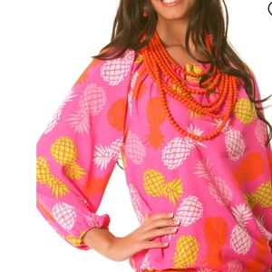 MCB Collection Pink Pineapple Off Shoulder Blouse